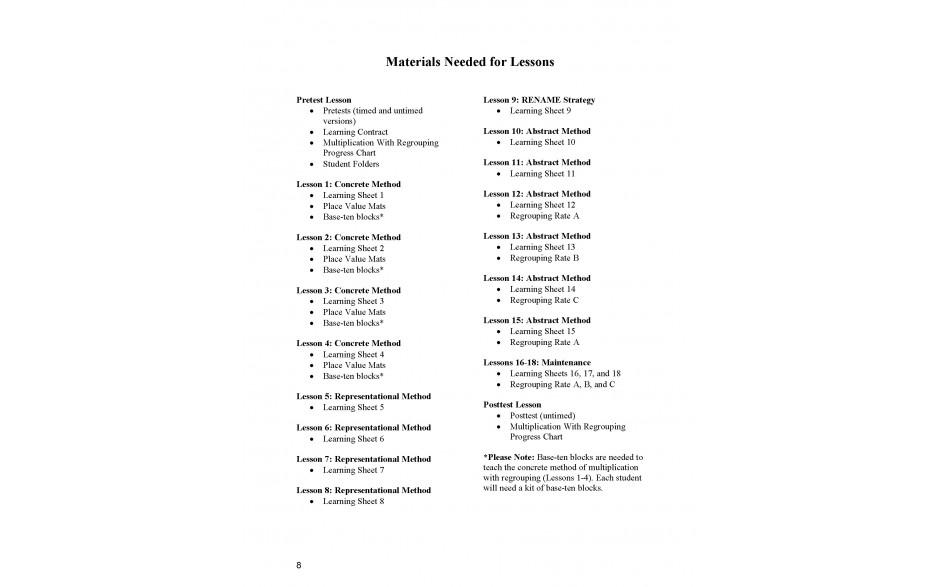 Lesson Materials List